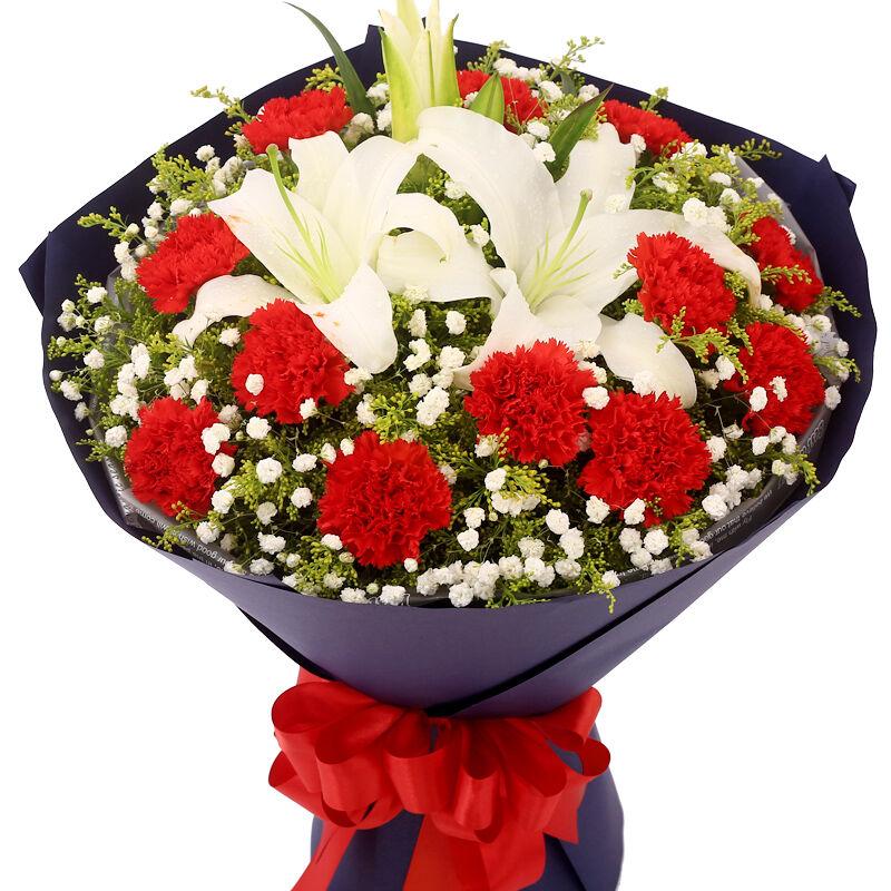 11支红色康乃馨+1支多头白百合,搭配黄莺、满天星。